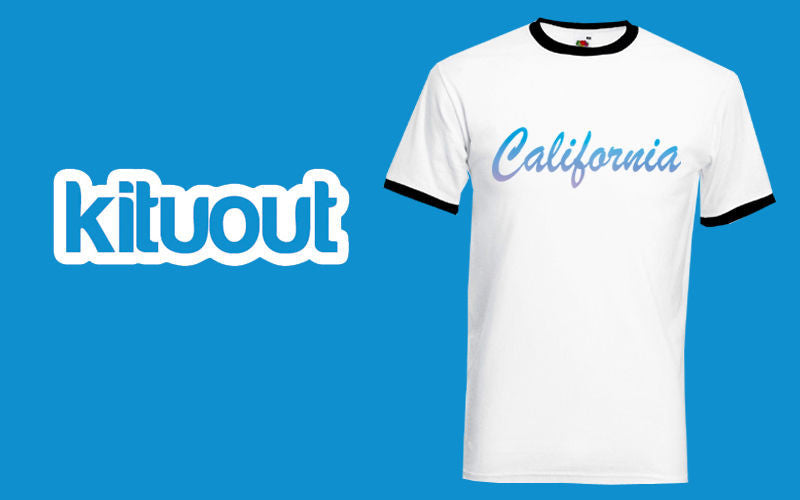 CALIFORNIA Cali USA Font Text Stylish Mens Unisex Ringer Contrast Tee New