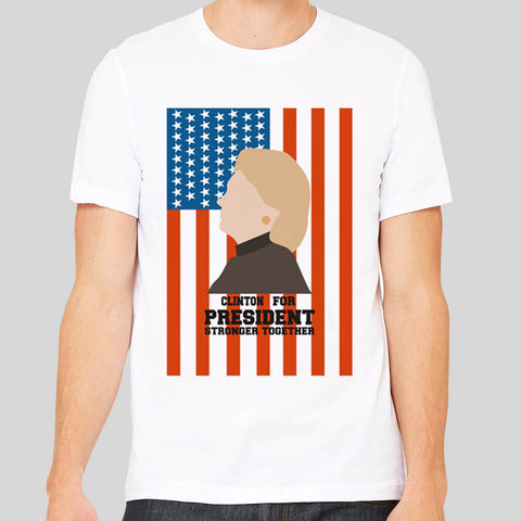 Hillary Clinton For President Poster Tee America Minimal T-shirt Unisex Mens New