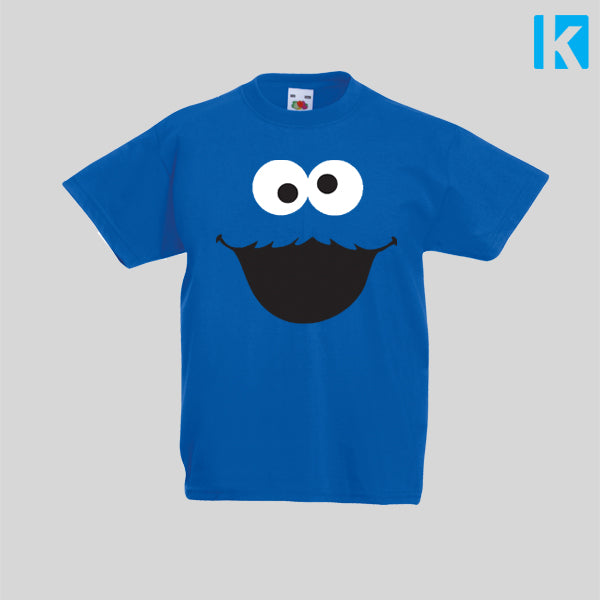 Cookie Monster Face Fancy Dress TV Show T-Shirt Boys Girls Kids Childrens New