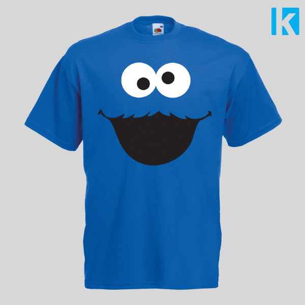 Cookie Monster Face Fancy Dress TV Show Adults T-shirt Unisex Tee Mens Womens