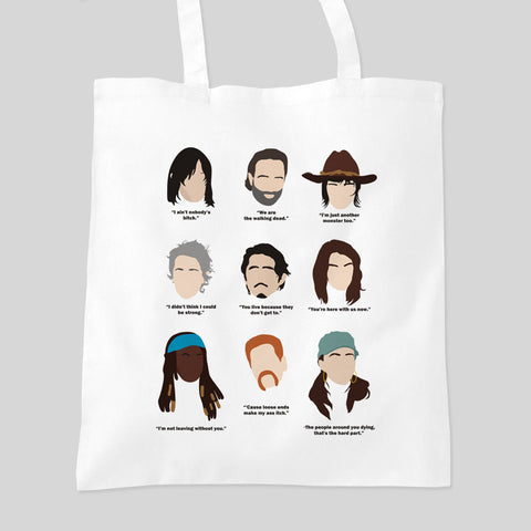 Fan Art Unofficial The Walking Dead Faces Tote Bag