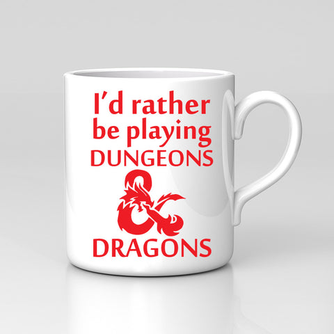 I'd Rather Be Playing Dungeons Fan Art Game Dragons Mug Great Birthday Xmas Gift New