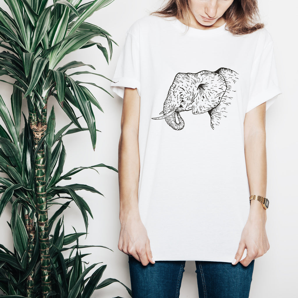 Elephant Tusk Africa Save Drawing T Shirt Top Tee Women Wild Sketch