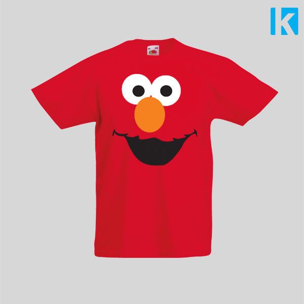 Elmo Face Fancy Dress Funny TV Show T-Shirt Boys Girls Kids Childrens New