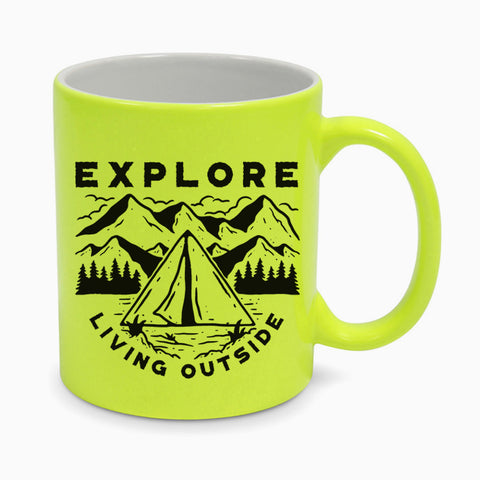 Explore Living Outside Ceramic Fluorescent Yellow Mug Coffee Mountain Camping Sea Sun Vacation Nature Hiking Wildlife Birthday Xmas Gift