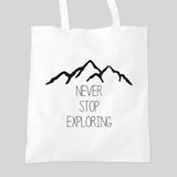 Never Stop Exploring Tumblr Blog Tote Bag