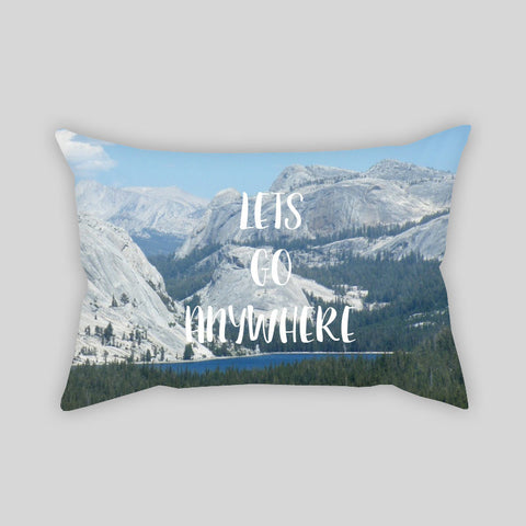Let's Go Anywhere Travel Adventure Throw Pillowcase Rectangle Sofa Couch 100% Cotton