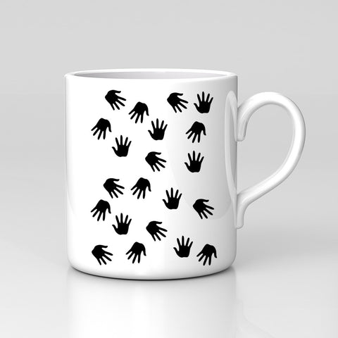 Hand Pattern Repeat Modern Minimalist Monochrome Mug Great Birthday Xmas Gift New