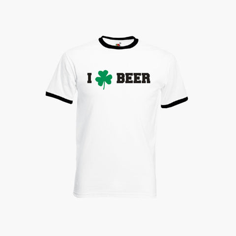 20ce46e6 St Patrick's Day I Love Beer Shamrock T-Shirt Ringer Top S-2XL New