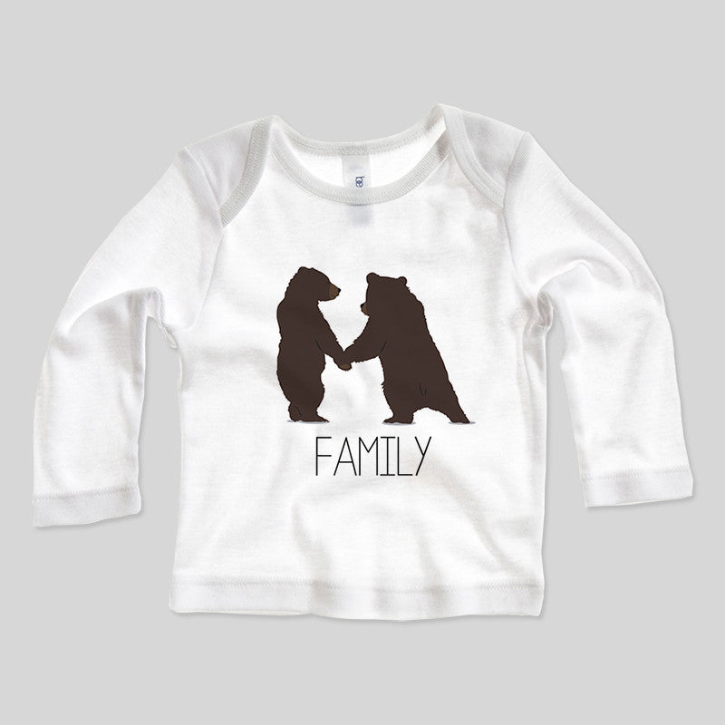 Bear Cubs Family Wild Animals Kids Cartoon Long Sleeve Baby Rib T-Shirt 3-24mths