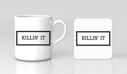 Killin' It Quote Boss Funny Tumblr Motivational Mug & Coaster Gift Set New