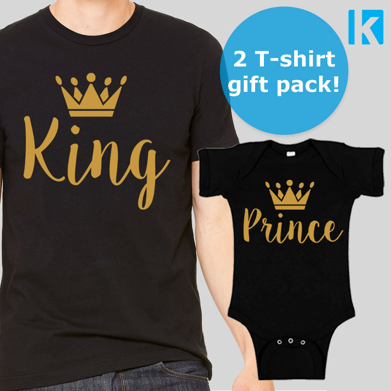 King and Prince T-shirt Pack Dad Father Son Baby Grow Funny Gift Set Cute