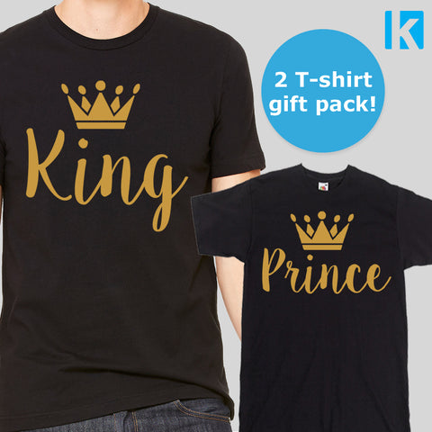 King and Prince Father Son T-shirt 2 Pack Mens Adults Boy Gift Set Dad Kid