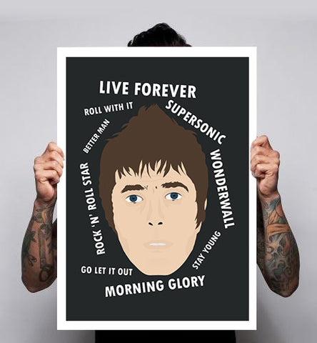 Unofficial Fan Art Oasis Liam Gallagher Music Poster A1-A3