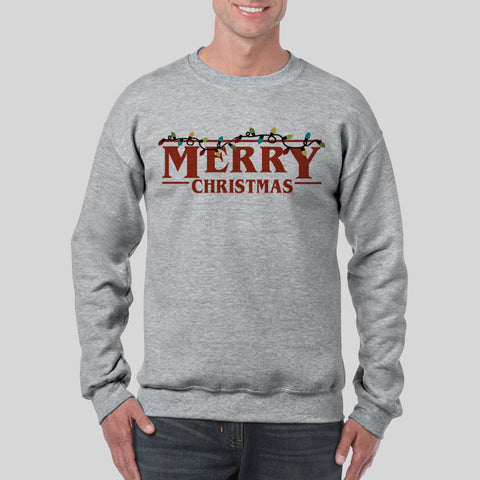 Merry Christmas Stranger Things Lights Logo Jumper UNISEX Sweatshirt S-3XL