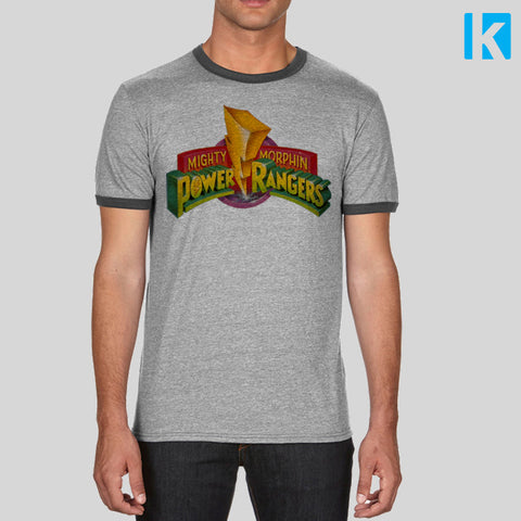 Mighty Morphin Power Rangers Logo Retro TV T Shirt Grey Ringer Tee Unisex NEW