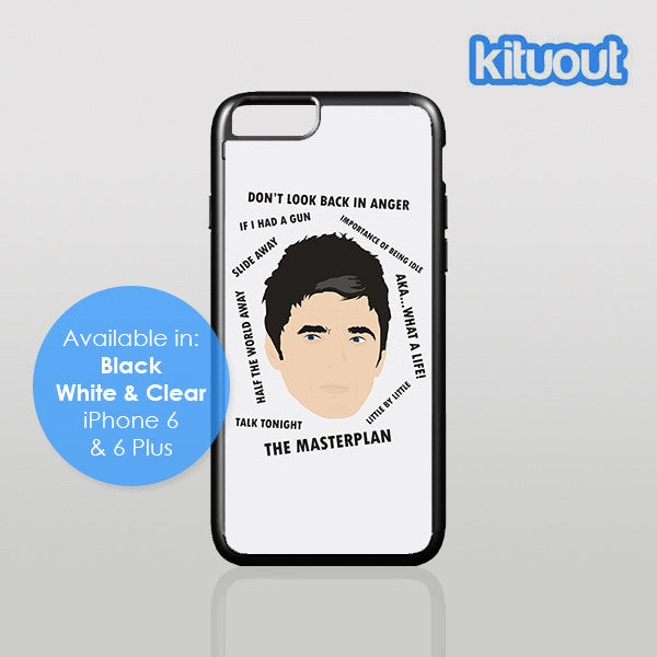 Unofficial Fan Art Oasis Noel Gallagher Songs iPhone 5, 6/6 Plus Black White Case Cover