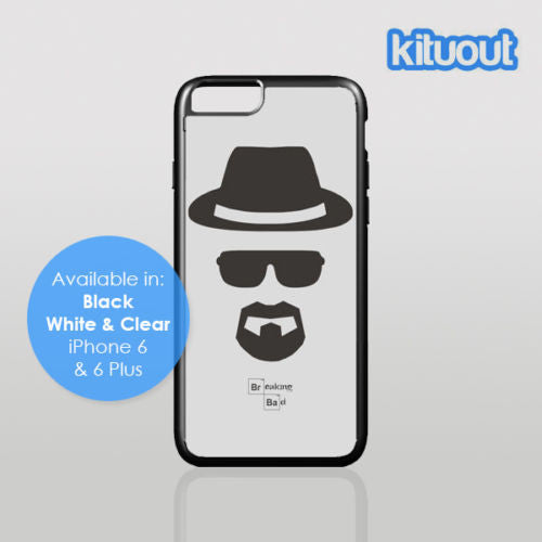 Breaking Bad Walter Heisenberg iPhone 5, 6/6 Plus Clear Black White Case Cover New