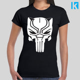 Black Panther Punisher Skull T-shirt Womens Girls S-2XL Tee Top Cool Marvel Film Movie Wakanda Super Hero