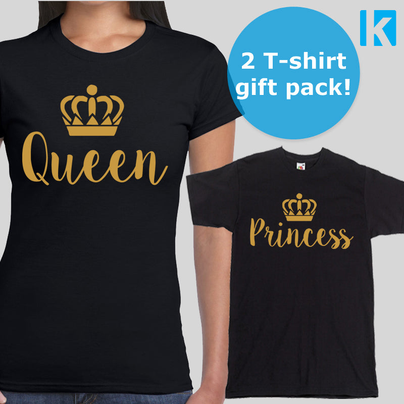 cfd92ce4d Queen and Princess 2 Pack T-shirts Tops Womens Adults Daughter Girl Mum Gift