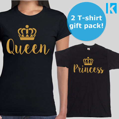 Queen and Princess 2 Pack T-shirts Tops Womens Adults Daughter Girl Mum Gift