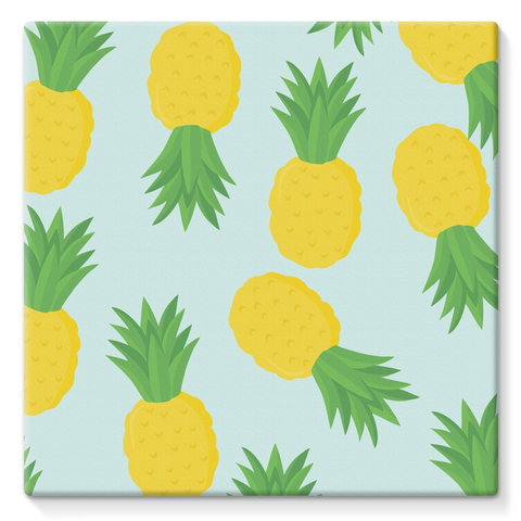 Pineapple Summer Fruit Art Beach Vibe Cool Stretched Eco-Canvas
