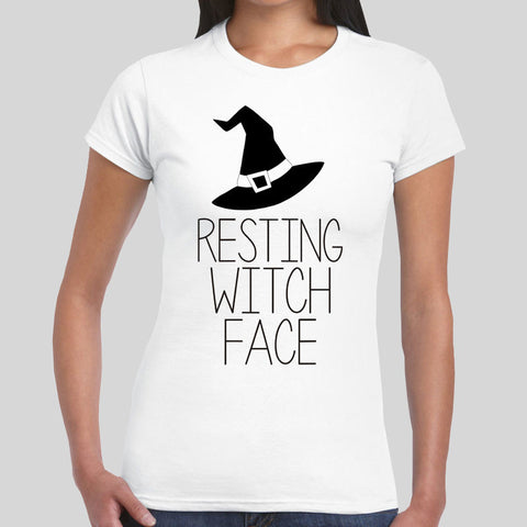 Resting Witch Face Halloween Funny Trick Treat Cheap Womens Girl Top T-Shirt