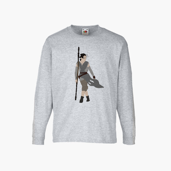Rey Star Wars Force Awakens Fan Art Unofficial T-Shirt Long Sleeve Boys Girls Kids Childrens New