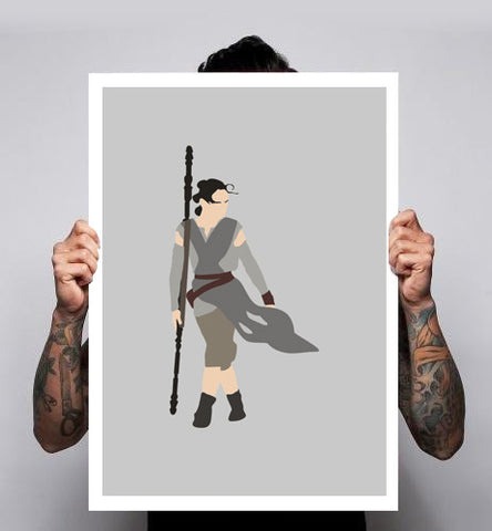Rey Star Wars Force Awakens Fan Art Unofficial Poster Print 180gm A1-3