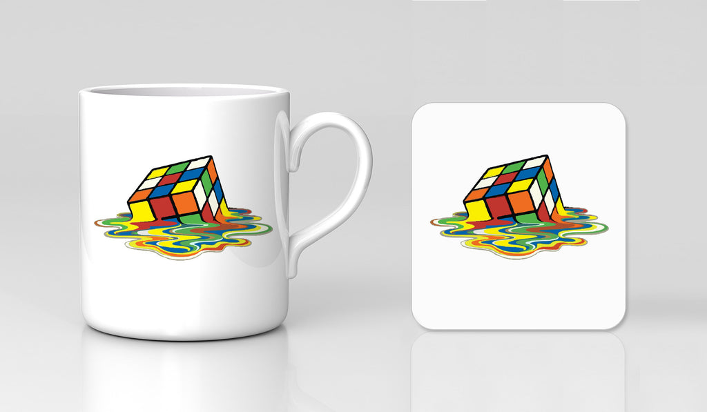 Big Bang Theory MELTING RUBIKS CUBE Retro Comedy Mug & Coaster Gift Set New