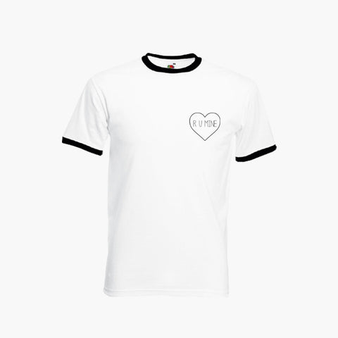 R U Mine Heart Logo Left Breast T-Shirt Ringer Top S-2XL New