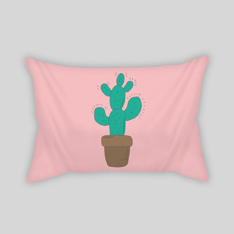 Cactus Desert Summer Plants Modern Room Throw Pillow Rectangle Sofa Couch Pink