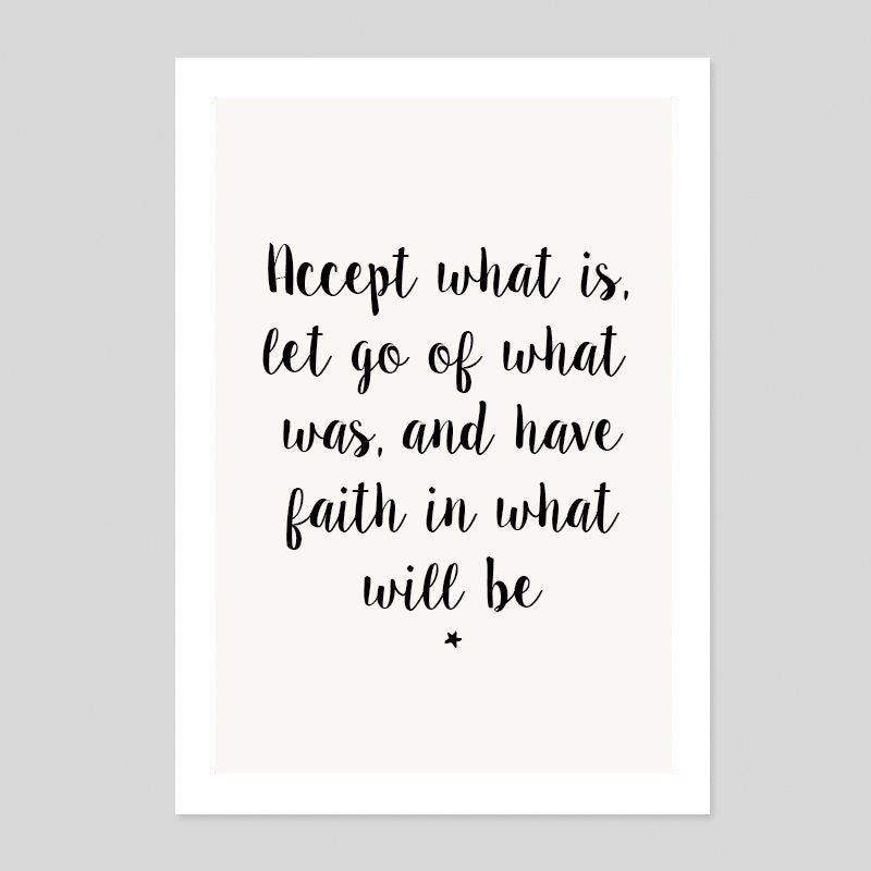 Faith In What Will Be Motivation Cute Love Quote Poster Minimal Art Print Room
