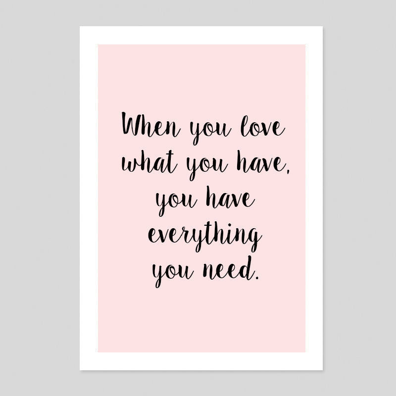 When You Love Motivational Gift Cute Quote Poster Minimal Art Print Room Tumblr