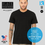 Bella American HEATHER BLACK Jersey T Shirt Apparel Casual Tee Top Men Unisex