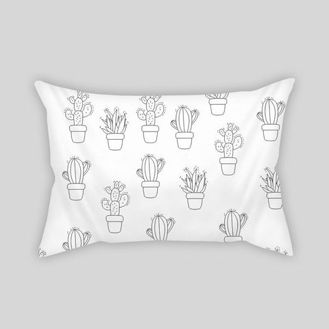 Cactus Desert Summer Plants Modern Room Throw Pillow Rectangle Sofa Couch White