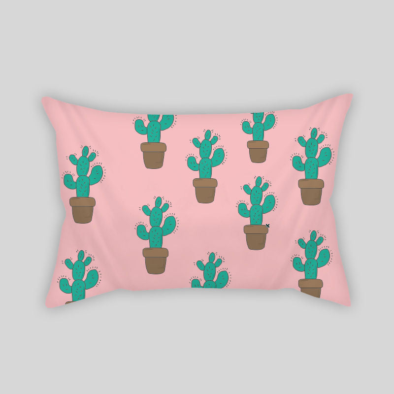 Cactus Desert Summer Plants Modern Room Throw Pillow Rectangle Sofa Couch Pink 2