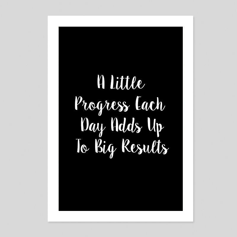 Progress Each Day Work Career Motivation Quote Poster Minimal Art Print Room