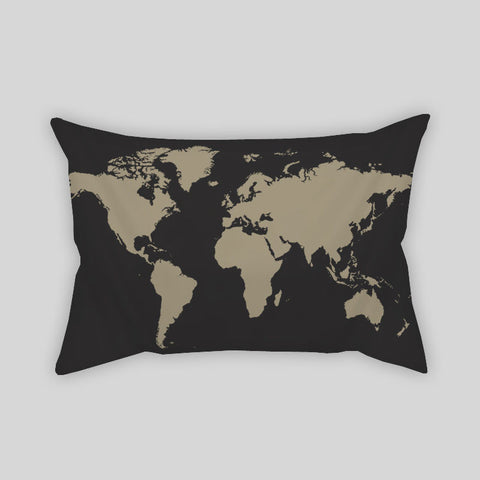 World Map Vector Old Globe Travel Room Throw Pillow Rectangle Sofa Couch Home