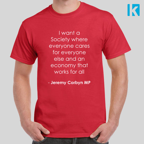 Quote One For All Vote Labour T Shirt Mens Top Snap May Government Jeremy Corbyn Election UK EU  Listed for charity