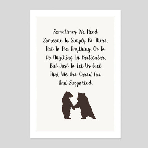 Bears Boyfriend Family Gift Cute Quote Poster Minimal Art Print Room Kids Animal
