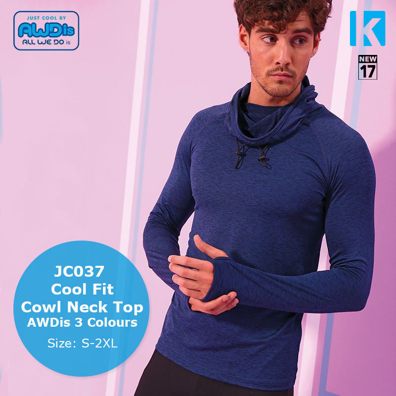 AWDis Cool Cowl Neck Top Long Sleeve Wickable Breathable Running Training Gym