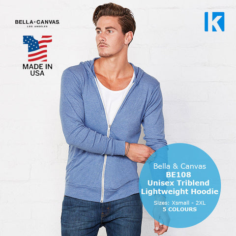Bella Canvas BE108 Unisex Tri-Blend Lightweight Hoodie American XS-2XL Apparel