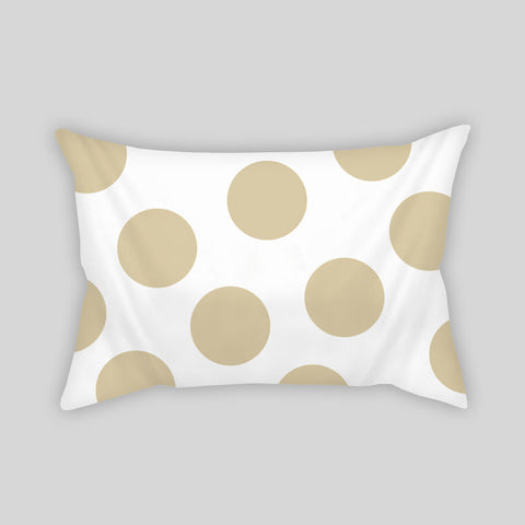 Polka Dots Gold White Bling Modern Room Throw Pillow Rectangle Sofa Couch Home