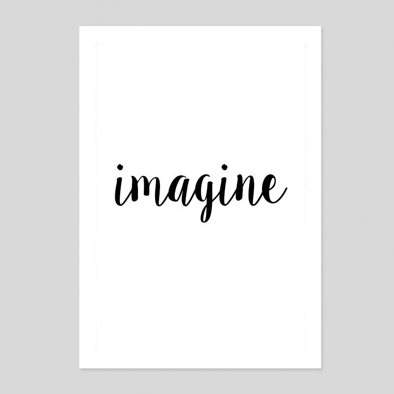 Imagine Work John Lennon Typography Quote Poster Minimal Art Print Room Tumblr