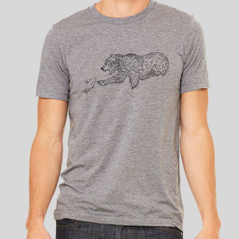 Brown Bears Hunting Fishing Mothers T Shirt Top Tee Unisex Men Women Wild Art
