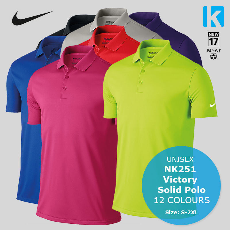 b684abdf Nike NK251 Mens Victory Solid Dri-Fit Golf Tennis Polo Shirt 12 Colours  Sports ...