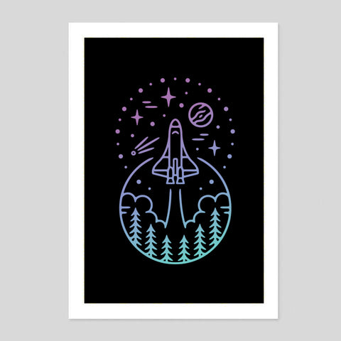 Space NASA Spaceship Minimal Black Retro USA Stars Nature Hiking Wildlife Woodland Poster Minimal Print