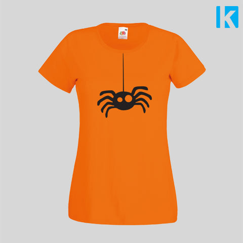 Hanging Spider Web Cute Funny Cheap Halloween Costume Top Tshirt Womens Girls