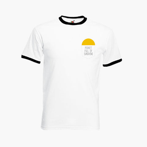 Pocket Full Of Sunshine Left Breast Logo Cute Funny T-Shirt Ringer Top S-2XL New